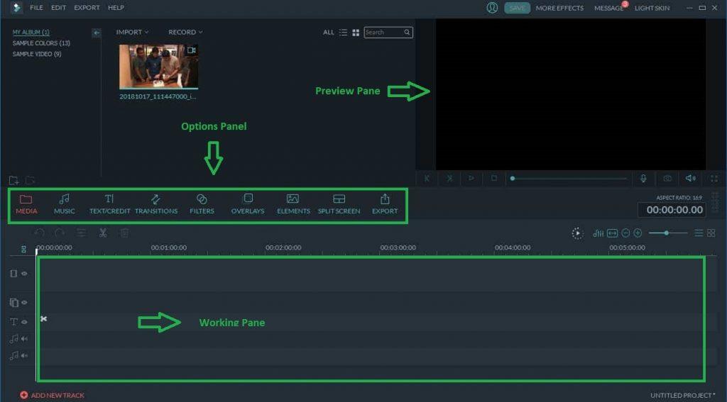filmora user interface