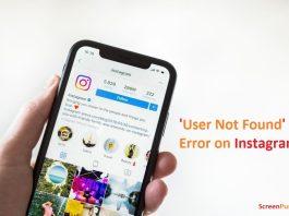 user not found on Instagram error